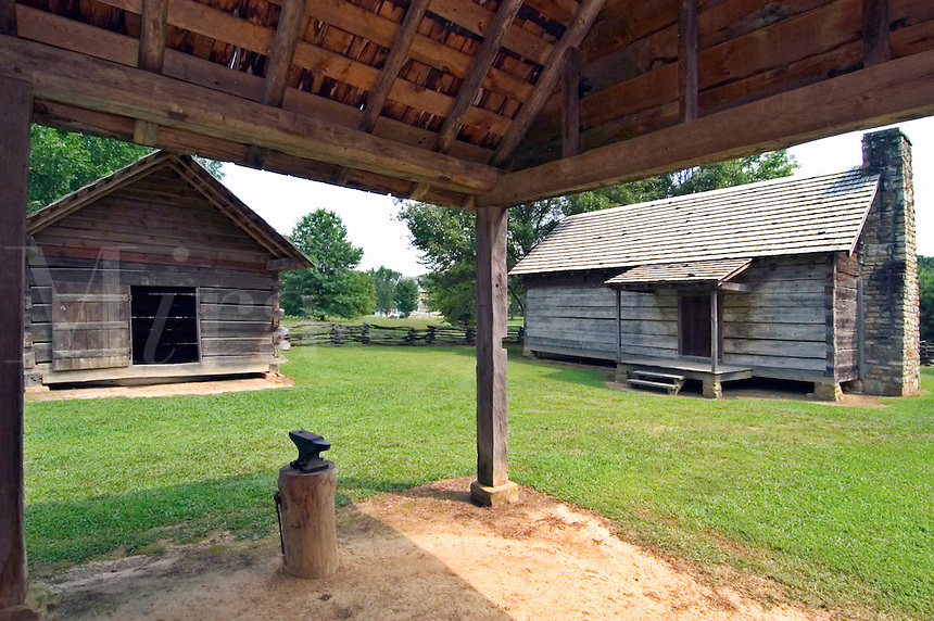 Middle class Cherokee home and outbuildings, at New Echota, Georgia.  Besides the main building, most farms also included corn cribs, smokehouses, and barns.