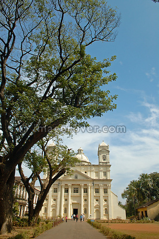 Facade with two towers of St. Cajetan Cathedral. India, Goa, Old Goa.