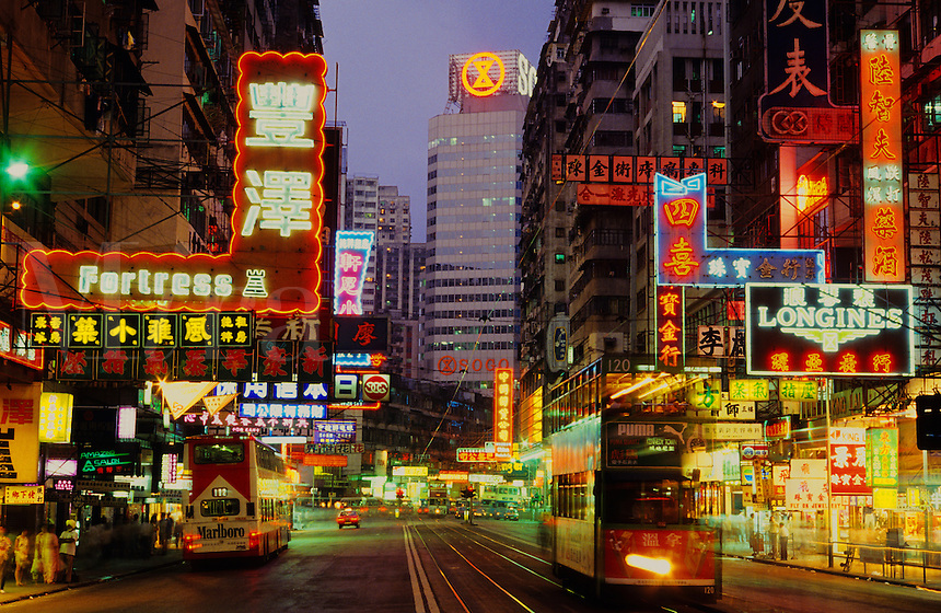 Hennessy Road, Wan Chai, Hong Kong. China. Evening With Neon Lights,
