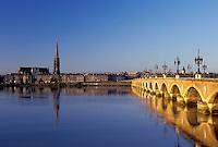 Bordeaux, France, Gironde, Aquitaine, Europe, Pont de Pierre crosses the Garonne River into the city of Bordeaux. Famous wine region