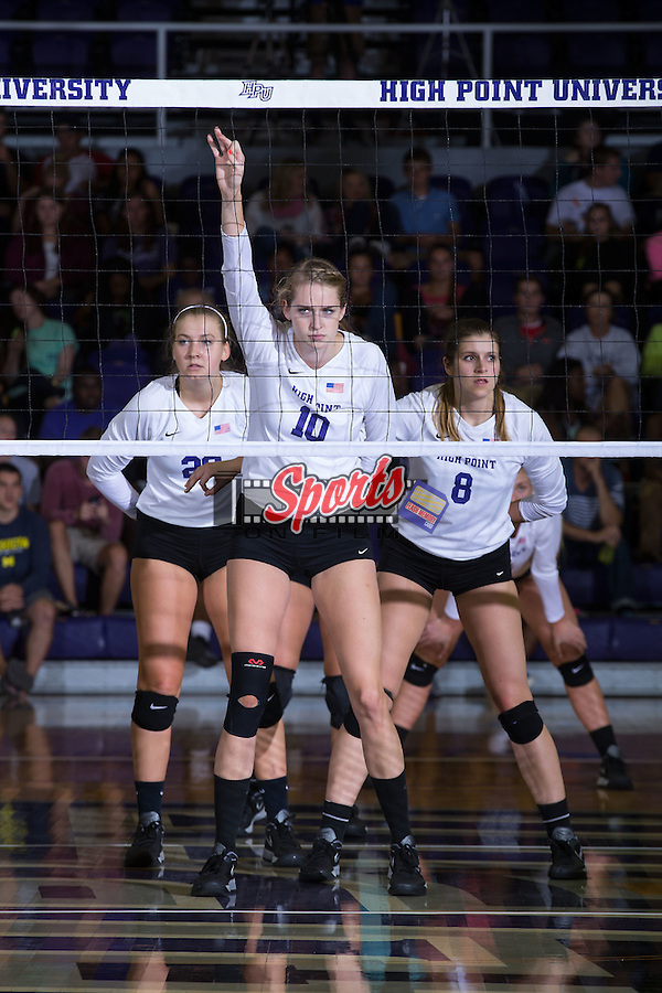 Savannah Angel (10), Haley Barnes (20) and Gabi Mirand (8) of the High Point Panthers during the match against the Wake Forest Demon Deacons at the Panther Invitational at the Millis Athletic Center on September 12, 2015 in High Point, North Carolina.  The Demon Deacons defeated the Panthers 3-1.   (Brian Westerholt/Sports On Film)