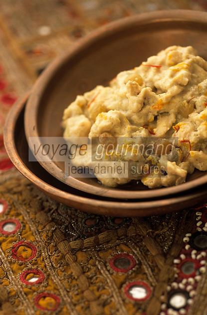 """Asie/Inde/Rajasthan/Jaipur: Poulet """"Murgh Mokul"""" poulet à la pâte de noix de cajou - Recette du restaurant """"Suvarna Mahal"""" du Rambagh Palace"""