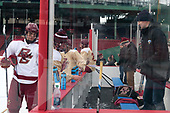 Michael Campoli (BC - 6), Zach Walker (BC - 14), Hannu Mattila - The Boston College Eagles practiced on the rink at Fenway Park on Friday, January 6, 2017.