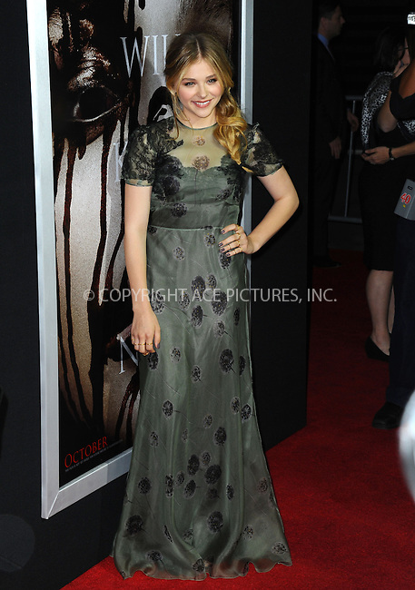 WWW.ACEPIXS.COM<br /> <br /> October 7 2013, LA<br /> <br /> Actress Chloe Grace Moretz arrives at the premiere of  'Carrie' at ArcLight Cinemas on October 7, 2013 in Hollywood, California.<br /> <br /> By Line: Peter West/ACE Pictures<br /> <br /> <br /> ACE Pictures, Inc.<br /> tel: 646 769 0430<br /> Email: info@acepixs.com<br /> www.acepixs.com
