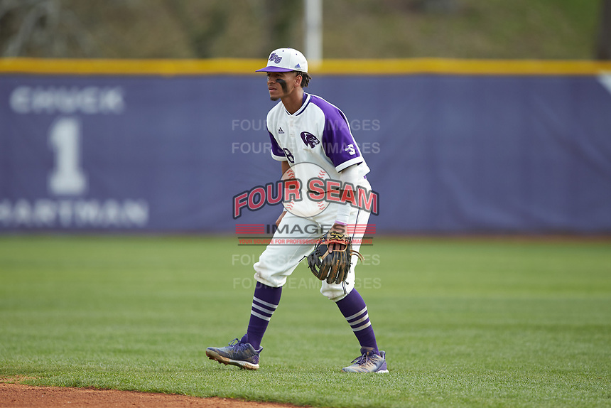 High Point Panthers second baseman Travis Holt (8) on defense against the Campbell Camels at Williard Stadium on March 16, 2019 in  Winston-Salem, North Carolina. The Camels defeated the Panthers 13-8. (Brian Westerholt/Four Seam Images)