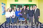 PRESENTATION: Maurice Guilfoyle of the Munster Fleadh Cheoil committee presenting Jermiah Hanafin owner and trainer of Farran Zebo winner of the Fleadh Cheoil sweepstake final the winning trophy at the Kingdom Greyhound Stadium on Friday l-r: Eileen Lucey, Gerard Mangan, Geraldine Guilfoyle (secretary), Tadhg O Maolcatha, Maurice Guilfoyle (treasurer), Tony O'Connor, Jermiah Hanafin, Tim Kissane, Mikey Reidy, Eoin O'Cara (chairman) and Declan Dowling (sales and operational manager KGS).