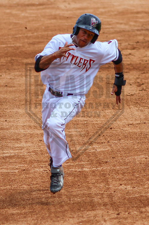APPLETON - August 2014: Johnny Davis (9) of the Wisconsin Timber Rattlers during a game against the Beloit Snappers on August 26th, 2014 at Fox Cities Stadium in Appleton, Wisconsin.  (Photo Credit: Brad Krause)