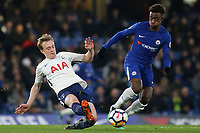 Oliver Shipp of Tottenham kicks the ball upfield as Callum Hudson-Odoi of Chelsea looks on during Chelsea Under-23 vs Tottenham Hotspur Under-23, Premier League 2 Football at Stamford Bridge on 13th April 2018