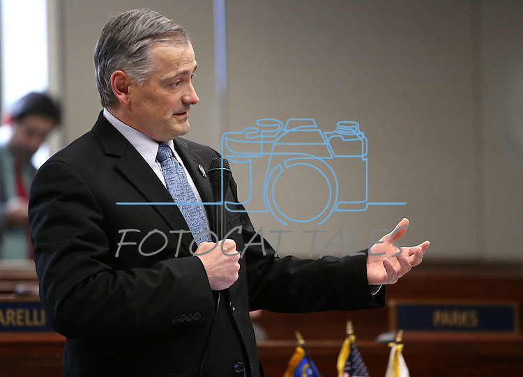 Nevada Sen. James Settelmeyer, R-Minden, speaks during Senate floor debate at the Legislative Building in Carson City, Nev., on Friday, May 8, 2015.<br /> Photo by Cathleen Allison
