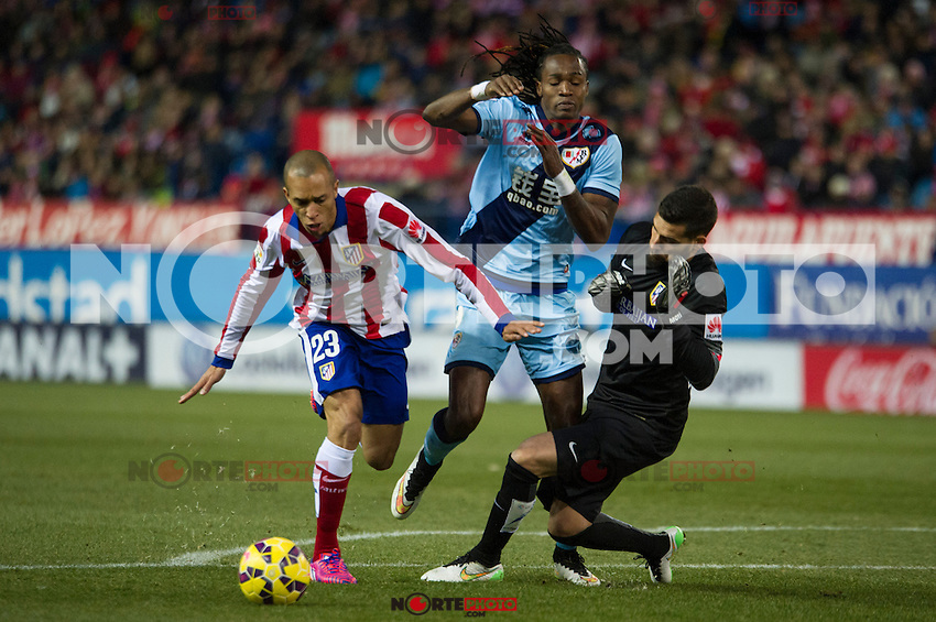Atletico de Madrid&acute;s Joao Miranda and Miguel Angel Moya and Rayo Vallecano&acute;s Manucho during 2014-15 La Liga match between Atletico de Madrid and Rayo Vallecano at Vicente Calderon stadium in Madrid, Spain. January 24, 2015. (ALTERPHOTOS/Luis Fernandez) /NortePhoto<br />