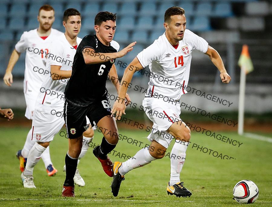 Fudbal Soccer<br /> Reprezentacija Srbije U21<br /> Kvalifikacije za U21 EURO 2019<br /> Srbija U21 v Gibraltar U21<br /> Vukasin Jovanovic (R) and Graeme Torilla<br /> Jagodina, 09.01.2017.<br /> foto: Srdjan Stevanovic/Starsportphoto &copy;