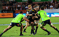 Brodie Retallick is tackled during the Super Rugby match between the Chiefs and Highlanders at FMG Stadium in Hamilton, New Zealand on Friday, 30 March 2018. Photo: Dave Lintott / lintottphoto.co.nz