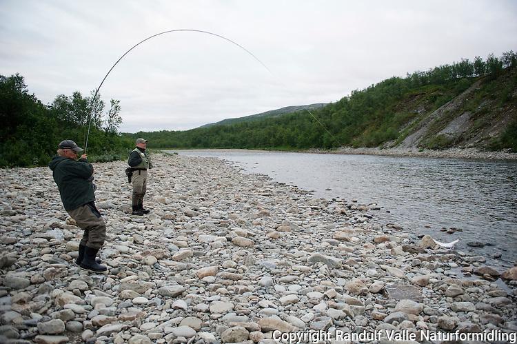 Mann lander laks i Repparfjordelva. ----- Man landing salmon in Repparfjordelva.