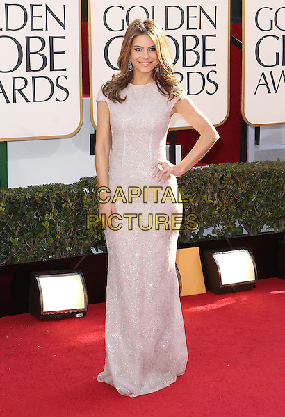 Maria Menounos.70th Annual Golden Globe Awards held at the Beverly Hilton Hotel, Hollywood, California, USA..January 13th, 2013.globes full length white silver dress hand on hip.CAP/ADM/SLP/COL.©Collin/Starlitepics/AdMedia/Capital Pictures.