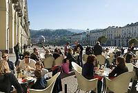 Italien, Piemont, Hauptstadt Turin: Cafe, Piazza Vittorio Veneto | Italy, Piedmont, capital Torino: cafe, Piazza Vittorio Veneto