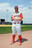 Williamsport Crosscutters catcher Cameron Rupp (50) before game against the Staten Island Yankees at Richmond County Bank Ballpark at St. George in Staten Island, NY August 08, 2010. Yankees won 6-3.  Photo By Tomasso DeRosa/ Four Seam Images