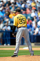 Pittsburgh Pirates pitcher Mark Melancon #35 during a Spring Training game against the New York Yankees at Legends Field on March 28, 2013 in Tampa, Florida.  (Mike Janes/Four Seam Images)