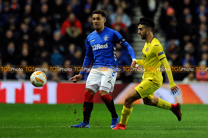 James Tavernier of Rangers vies for the ball with Manu Morlanes of Villarreal CF during Rangers vs Villarreal CF, UEFA Europa League Football at Ibrox Stadium on 29th November 2018