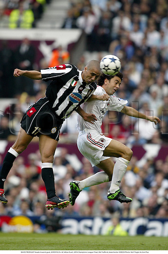 DAVID TREZEGUET heads toward goal, JUVENTUS 0 v AC Milan 0 aet, UEFA Champions League Final, Old Trafford, Manchester 030528 Photo: Neil Tingle/Action Plus<br />