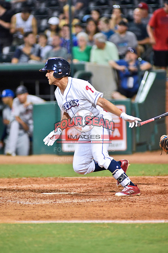 Northern Divisions first baseman Jake Scheiner (14) of the Lakewood BlueClaws swings at a pitch during the South Atlantic League All Star Game at First National Bank Field on June 19, 2018 in Greensboro, North Carolina. The game Southern Division defeated the Northern Division 9-5. (Tony Farlow/Four Seam Images)