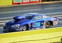 Sept. 21, 2012; Ennis, TX, USA: NHRA pro stock driver Kurt Johnson during qualifying for the Fall Nationals at the Texas Motorplex. Mandatory Credit: Mark J. Rebilas-