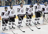 Justin Pallos (Union - 11), Brock Matheson (Union - 6), Adam Presizniuk (Union - 29), Kelly Zajac (Union - 19), Jeremy Welsh (Union - 27), Corey Milan (Union - 31) - The University of Minnesota-Duluth Bulldogs defeated the Union College Dutchmen 2-0 in their NCAA East Regional Semi-Final on Friday, March 25, 2011, at Webster Bank Arena at Harbor Yard in Bridgeport, Connecticut.
