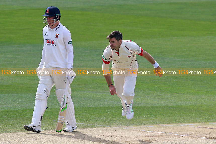 Jimmy Anderson in bowling action for Lancashire during Essex CCC vs Lancashire CCC, Specsavers County Championship Division 1 Cricket at The Cloudfm County Ground on 10th April 2017