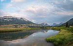 Bridger-Teton National Forest, Wyoming:<br /> Morning clouds over the Wind River Range with reflections on the Green River