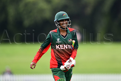17th January 2018, Hagley Oval, Christchurch, New Zealand; Under 19 Cricket World Cup, New Zealand versus Kenya;  Kenya's Aman Gandhi walking back dejected