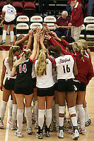 17 Sep 2005: Michelle Mellard, Bryn Kehoe, Courtney Schultz, Alex Fisher, Foluke Akinradewo, Erin Waller and Katie Goldhahn during Stanford's 3-0 win over UCSB at Maples Pavilion in Stanford, CA.
