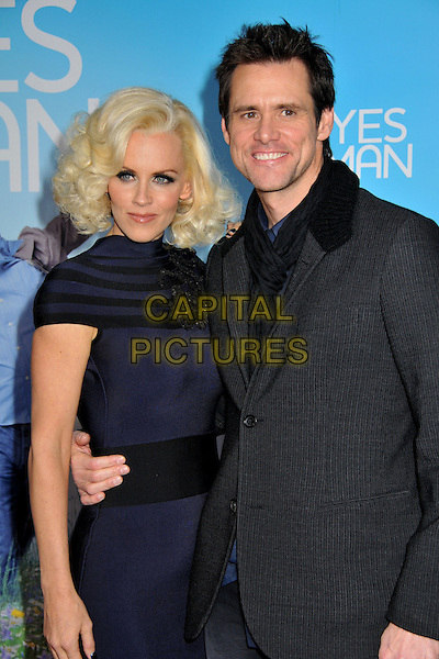 "JENNY McCARTHY & JIM CARREY.""Yes Man"" Los Angeles Premiere at Mann's Village Theatre, Westwood, California, USA..December 17th, 2008.half 3/4 length blue black grey gray striped stripes jacket dress tight couple .CAP/ADM/BP.©Byron Purvis/AdMedia/Capital Pictures."