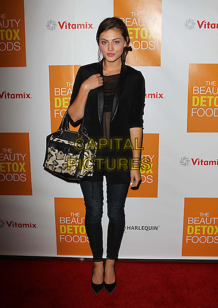 "Phoebe Tonkin.Celebrity Nutritonist Kimberly Snyder Hosts Book Launch Party For ""The Beauty Detox Foods"" At Smashbox, Hollywood, California, USA..March 26th, 2013.full length blazer jeans denim bag purse beige print pattern black top  .CAP/ADM/KB.©Kevan Brooks/AdMedia/Capital Pictures."