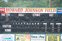 Howard Johnson Field scoreboard before the first game of the 2011 Championship Series between the Bluefield Blue Jays and the Johnson City Cardinals at Howard Johnson Field on September 3, 2011 in Johnson City, Tennessee.  The Cardinals won the game 4-3.  (Tony Farlow/Four Seam Images)