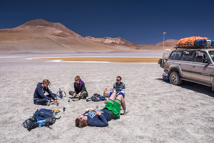 Eating lunch at Laguna Hedionda, a salt lake area in the Altiplano of Bolivia