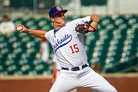 Nick Burdi (15) of the Chattanooga Lookouts pitches during a game between the Jackson Generals and Chattanooga Lookouts at AT&T Field on May 10, 2015 in Chattanooga, Tennessee. (Brace Hemmelgarn/Four Seam Images)