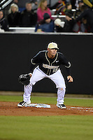 UCF Knights infielder James Vasquez (13) during the opening game of the season against the Siena Saints on February 13, 2015 at Jay Bergman Field in Orlando, Florida.  UCF defeated Siena 4-1.  (Mike Janes/Four Seam Images)
