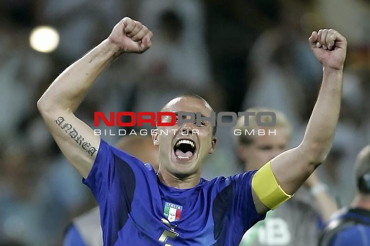 FIFA WM 2006 -  Semi Finals / Halbfinale<br /> Play    #61 (04-Juli) - Deutschland - Italien<br /> <br /> CANNAVARO<br />  Jubel<br /> Foto &copy; nordphoto