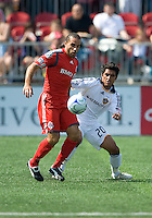 06 June 2009: Toronto FC midfielder Dewayne DeRosario #14 and Los Angeles Galaxy defender A.J. DeLaGarza #20 in  MLS action at BMO Field Toronto in a game between LA Galaxy and Toronto FC. .The Galaxy  won 2-1.