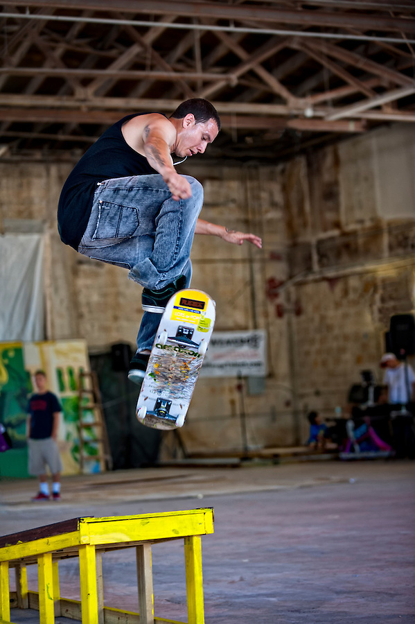 Skateboarder jumps in a demonstration during the 2011 Graffiti Expo in Fort Lauderdale. Editorial Use Onlu.