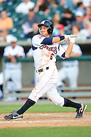 Darwin Barney swings at a pitch at Smokies Park in Sevierville, TN May 21, 2009 (Photo by Tony Farlow/ Four Seam Images)