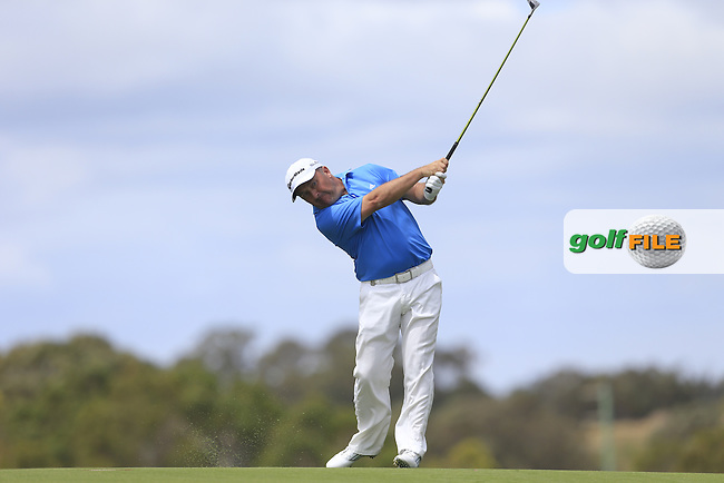 Damian McGrane (IRL) on the 18th during Round 3 of the ISPS HANDA Perth International at the Lake Karrinyup Country Club on Saturday 25rd October 2014.<br /> Picture:  Thos Caffrey / www.golffile.ie