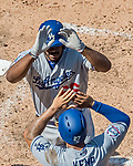 20 May 2018: Los Angeles Dodgers right fielder Yasiel Puig comes home to score against the Washington Nationals at Nationals Park in Washington, DC. The Dodgers defeated the Nationals 7-2, sweeping their 3-game series. Mandatory Credit: Ed Wolfstein Photo *** RAW (NEF) Image File Available ***