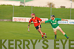 Liam O Shea(kenmare)ball in hand tries to escape the efforts of Kieran Godley(ballyduff) dispossessing him..Kenmare v Ballyduff side Ladies Walk in the Kerry Intermediate hurling championship final last Wednesday evening at Austin Stack Park.