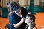 Make up team works with Natalia de Molina during 'Las Ninas' filming. August 2, 2019. (ALTERPHOTOS/Francis González)