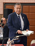 July 22, 2015, Tokyo, Japan - Yoshiro Mori, who heads the 2020 Tokyo Olympics organizing committee, arrives at a news conference in Tokyo on Wednesday, July 22, 2015. Following a meeting with Mori on July 17, Prime Minister Shinzo Abe announced to scrap the controversial design of the National Stadium, the main venue for the 2020 Tokyo Olympics, because of soaring costs. Japan will reopen bidding for a new plan but the sudden change in the government stance leaves the 2019 Rugby World Cup without a main venue. In the unexpected development of the situation, Mori, a former Japan Rugby Football Union chairman, who had worked to make the stadium the main venue for the rugby tournament before the Tokyo Olympics, lost not only the venue but also his face.  (Photo by Natsuki Sakai/AFLO) AYF -mis-