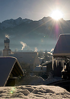 Germany, Bavaria, Upper Bavaria, Werdenfelser Land: winter in Wallgau with Karwendel mountains