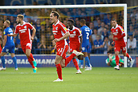 Josh Morris of Scunthorpe United celebrates his goal in the first half during AFC Wimbledon vs Scunthorpe United, Sky Bet EFL League 1 Football at the Cherry Red Records Stadium on 15th September 2018