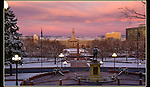 Winter sunrise, view from capitol building to Civic Park, Denver.<br />