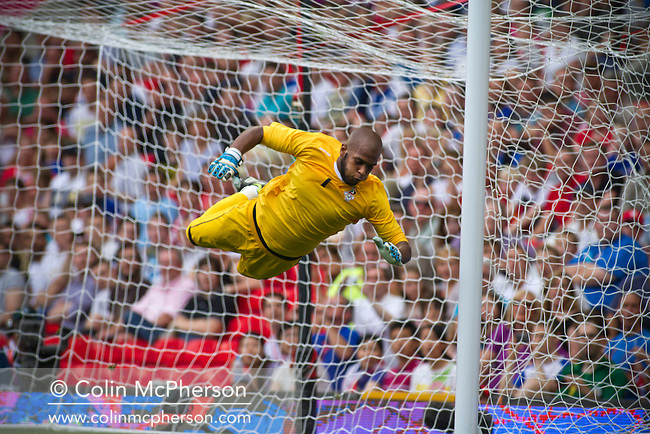 United Arab Emirates goalkeeper Ali Khaseif cannot prevent Uruguay's Ramirez's equalising goal at Manchester United's Old Trafford stadium during the first half of their opening match at the Men's Olympic Football tournament. The double header of games resulted in Uruguay defeating the United Arab Emirates by 2-1 while Great Britain and Senegal drew 1-1. Over 72,000 spectators attended the two Group A matches.