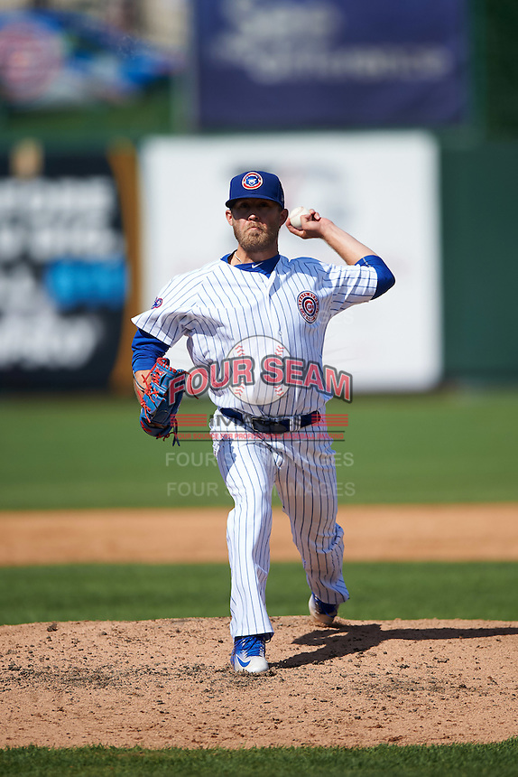 South Bend Cubs relief pitcher John Williamson (20) during the second game of a doubleheader against the Peoria Chiefs on July 25, 2016 at Four Winds Field in South Bend, Indiana.  South Bend defeated Peoria 9-2.  (Mike Janes/Four Seam Images)